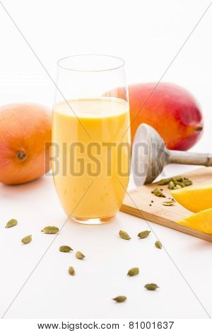 Blended Mango Fruit Shake, Mangoes And Cardamom