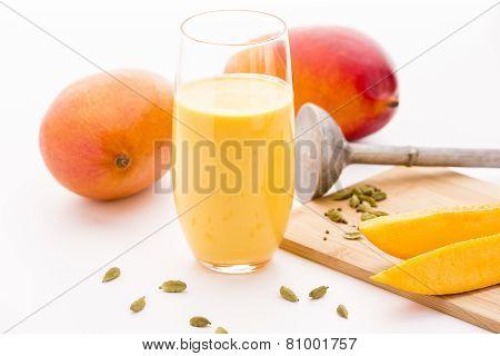Mango Milkshake, Two Mangos And Fruit Slices