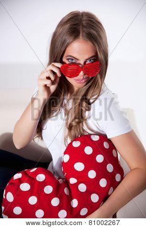 Flirty Woman In Glasses