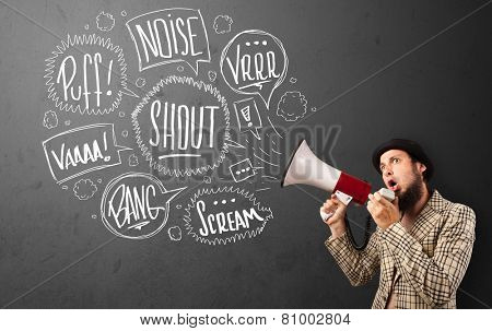 Guy in suit yelling into megaphone and hand drawn speech bubbles come out