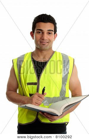 Construction Worker With Pen And Book