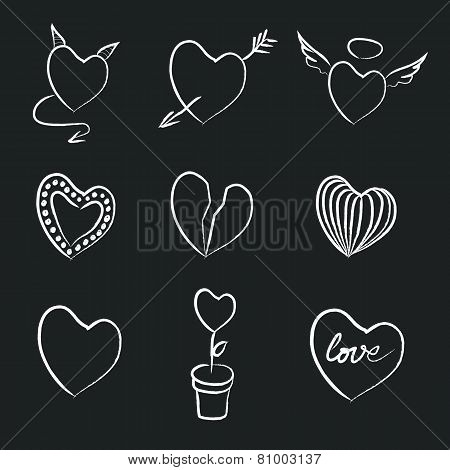 Hand Drawn Chalk Hearts Collection.