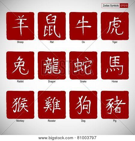 Zodiac symbols calligraphy on red background.