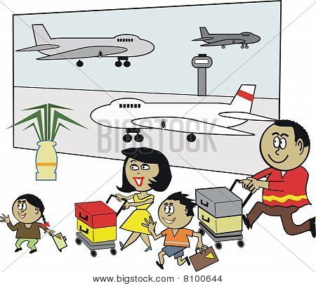 African family airport cartoon