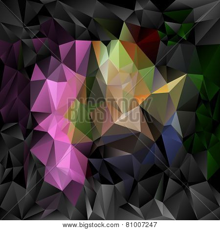 Vector Polygonal Background Pattern - Triangular Design In Dark Full Co
