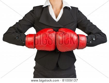 Cropped image of businesswoman in boxing gloves