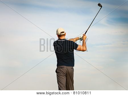Athletic Young Man Playing Golf, Golfer Hitting Fairway Shot