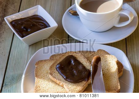 Breakfast Time: Cup Of Milky Coffee, Rusks And Chestnuts Cream