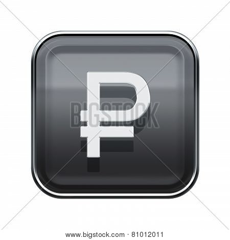 Rouble Icon Glossy Grey, Isolated On White Background
