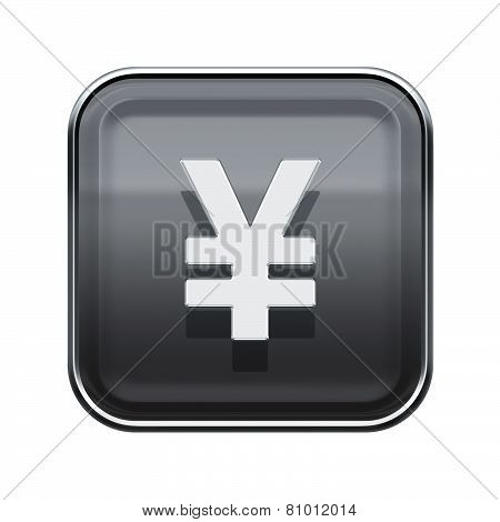 Yen Icon Glossy Grey, Isolated On White Background