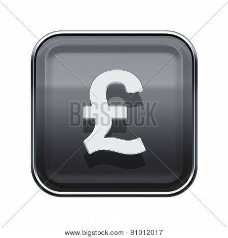 Pound Icon Glossy Grey, Isolated On White Background