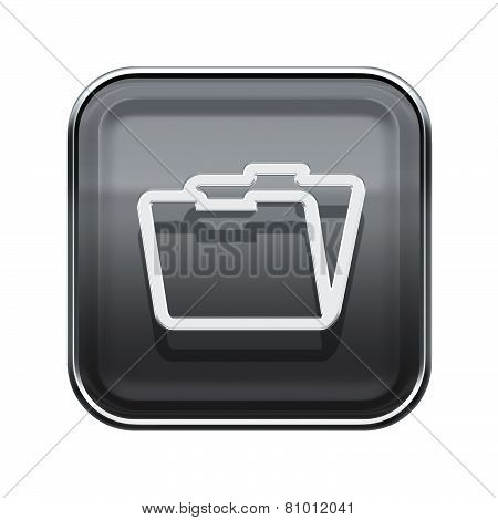 Folder Icon Glossy Grey, Isolated On White Background