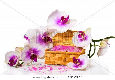 Twig Orchids And Wooden Box With Salt For Of Spa Treatments.
