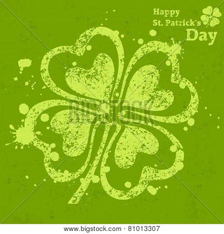 Four Leaf Clover Grunge On Green
