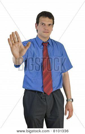 Businessman Giving Warning