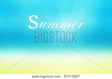 Summer Time Background With Beach And Tropical Sea With Bright Glowing  Sun Light. Happy Summer Time