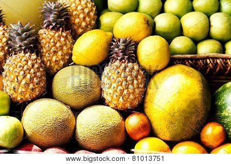 Huge Group Of Colorful Fresh Fruits May Use As Food Background. Assortment Of Juicy Fruits Backgroun