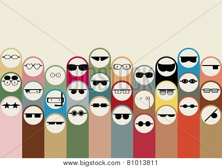 Group of cartoon people different professions in glasses