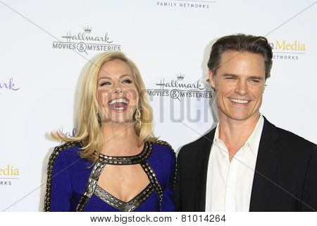 LOS ANGELES - JAN 8: Brooke Burns, Dylan Neal at the TCA Winter 2015 Event For Hallmark Channel and Hallmark Movies & Mysteries at Tournament House on January 8, 2015 in Pasadena, CA
