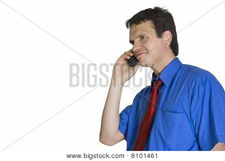 Portrait Of A Businessman Talking On A Phone.