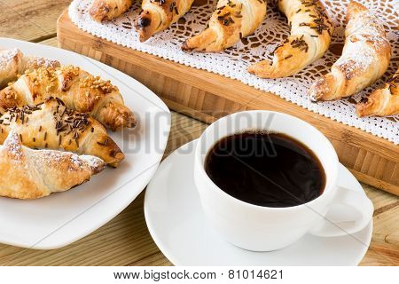 Breakfast Time : Coffee Cup With Croissants