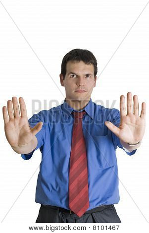 Businessman Gesturing Stop With Palm Of His Hands.