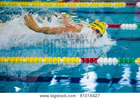 Milan - December  23: F. Giordano   Performing Butterfly  In  Swimming Meeting Brema Cup On December