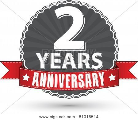 Celebrating 2 Years Anniversary Retro Label With Red Ribbon, Vector Illustration