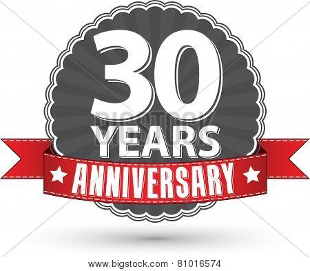Celebrating 30 Years Anniversary Retro Label With Red Ribbon, Vector Illustration