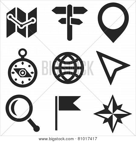 Geo Web And Mobile Icons Set. Vector.