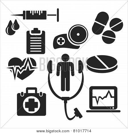 Medical And Healthcare Web And Mobile Icons. Vector.