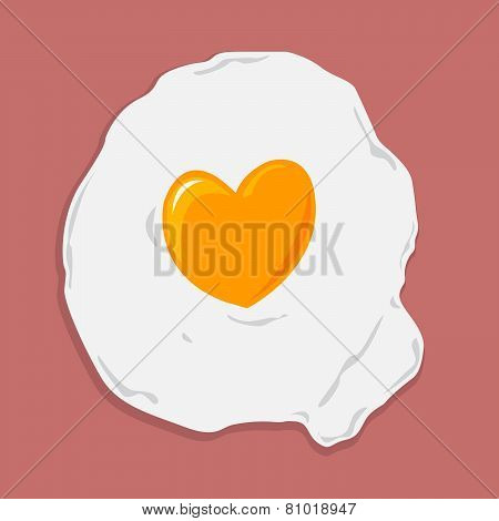 Fried Egg with Heart Shape for Healthcare concept.