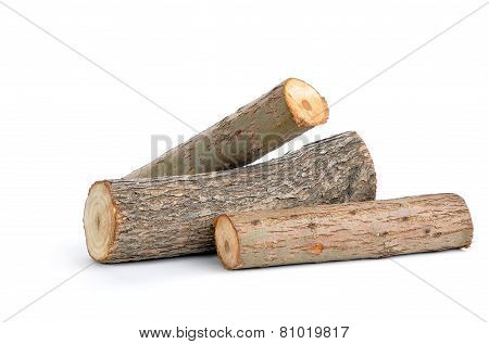 Three Willow Logs Isolated