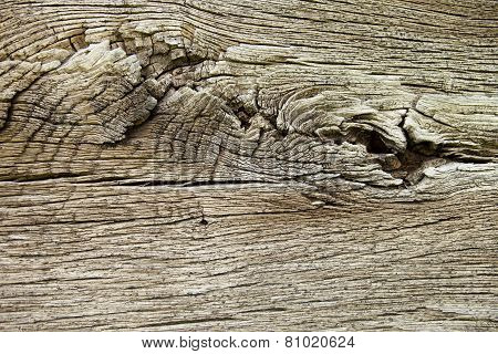 Wooden Wall Of The Old Log House. Close Up.