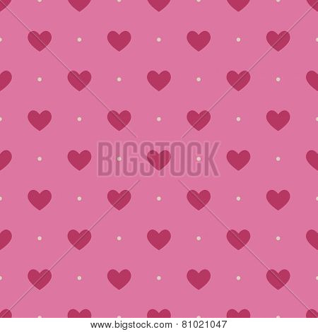 Seamless pattern with light vinous hearts on pink background