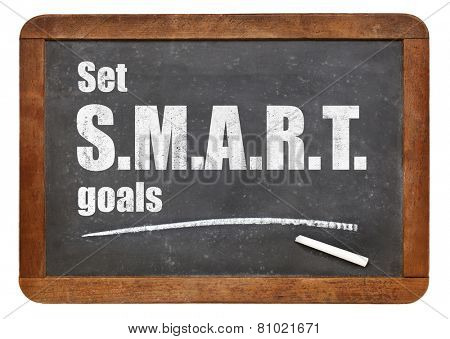 Set S.M.A.R.T. goals. Motivational advice on a vintage slate blackboard