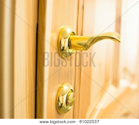 Golden Door Handle And Lock On The Wooden Door