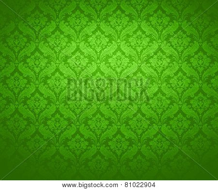 green baroque wallpaper texture.