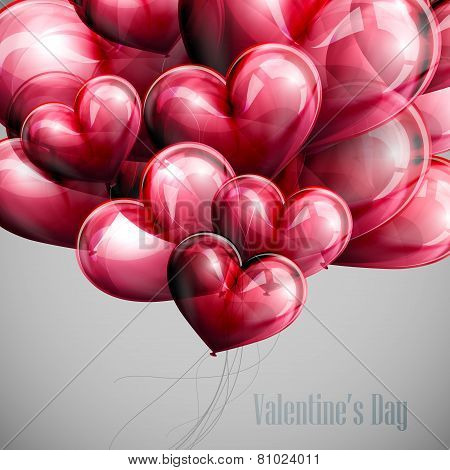 vector holiday illustration of flying bunch of red balloon hearts. Happy Valentines Day