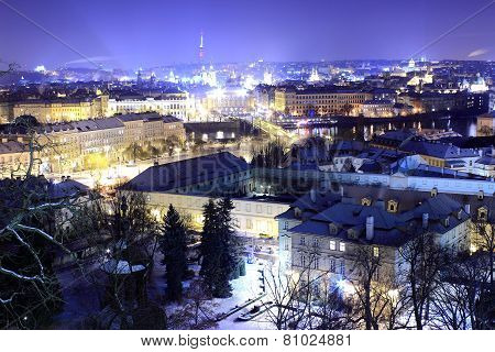 Winter Prague by night