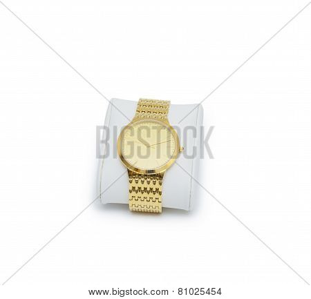 Golden Modern Wrist Watch Isolated