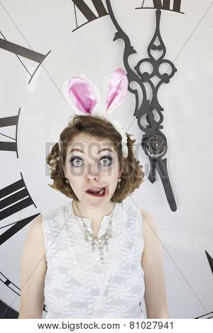 Young woman dressed as the white rabbit