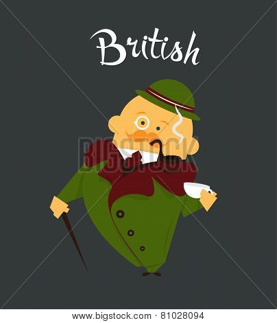British man or character, cartoon, citizen of Great Britain in tweed suit and hat, tobacco pipe