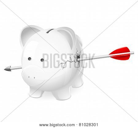 Broken piggy bank shot by arrow