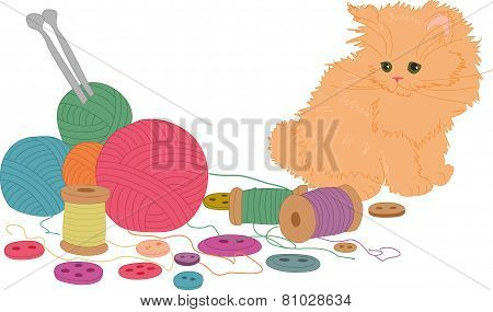 The kitten playing with balls.