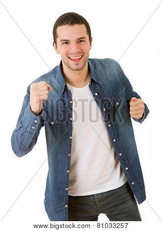 happy young man winning, isolated on white