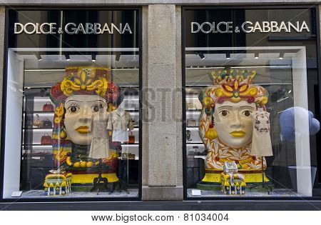 Dolce E Gabbana Window In Milan