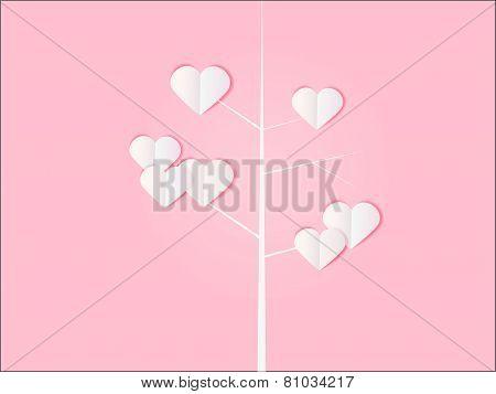 Pink Valentine Tree card background