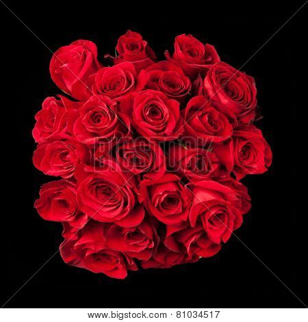 Bouquet of roses isolated on black background