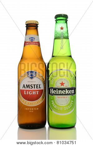 Heineken And Amstel On White With Reflection